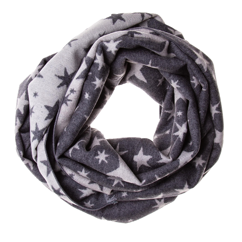 Schal Seidenflanell Sterne grau weiß