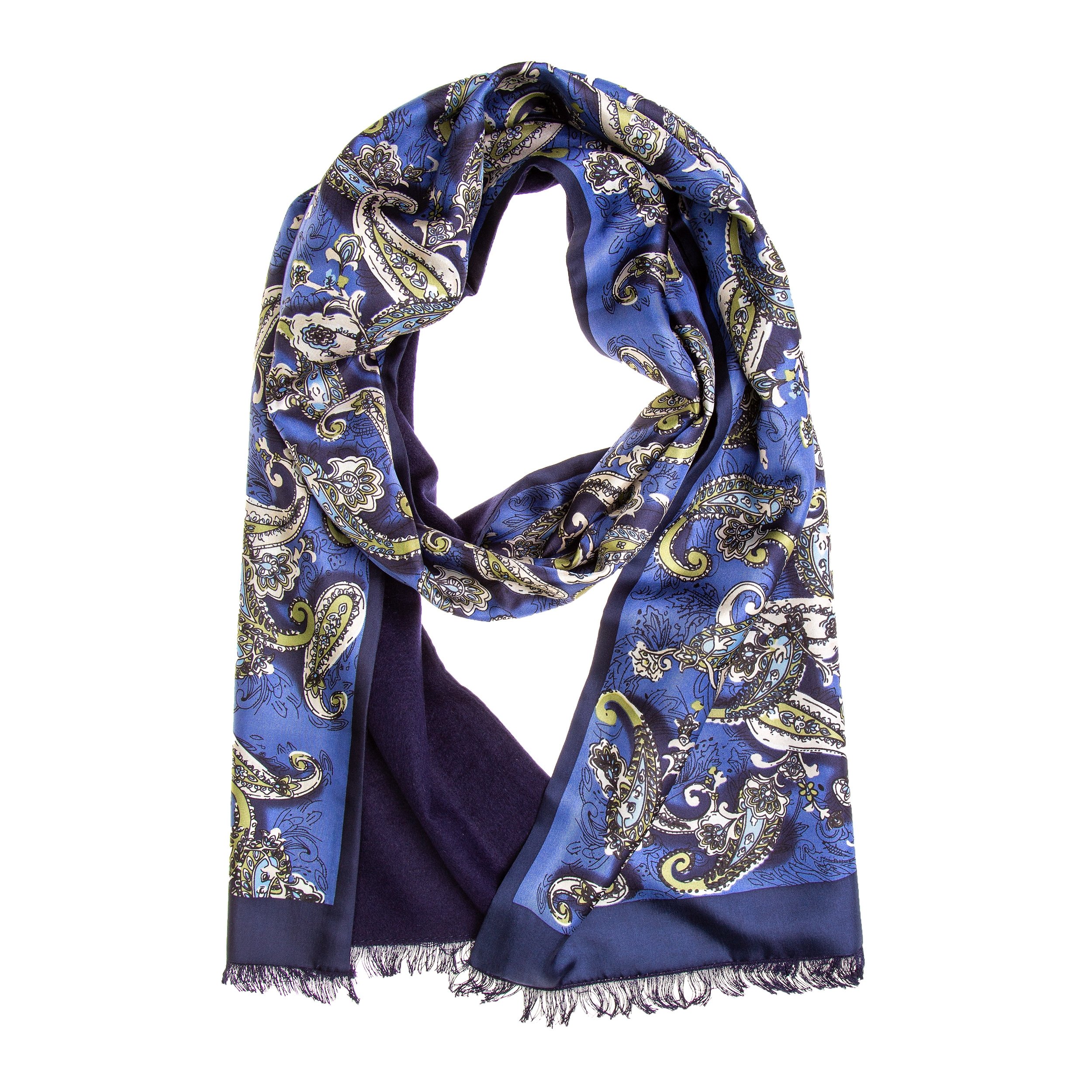 Schal Seidenflanell schwarz Paisley blau