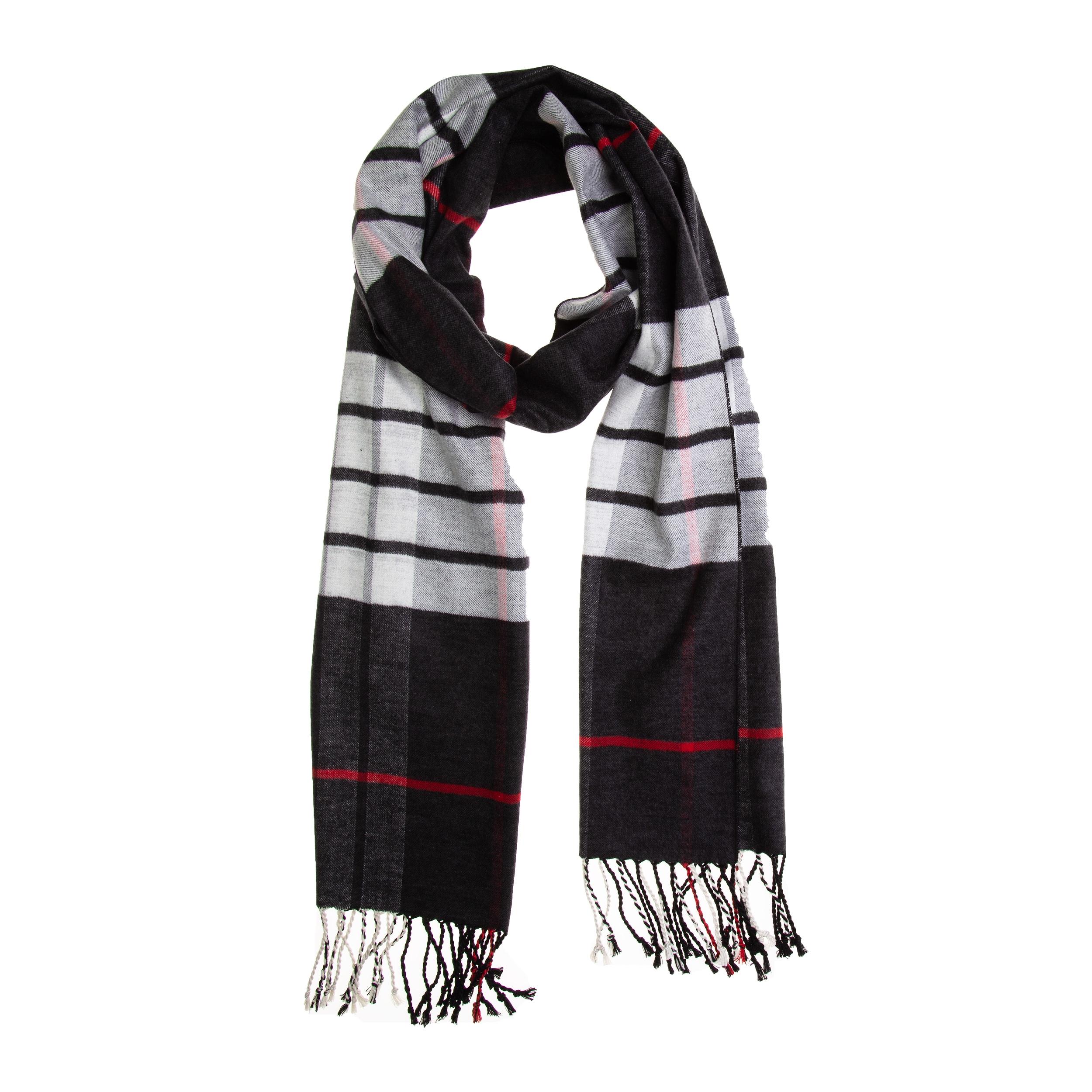 Schal Seidenflanell schwarz weiß rot